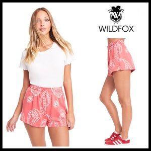 Wildfox Shorts - WILDFOX RED BOHO PRINT KNIT JERSEY SHORTS A3C